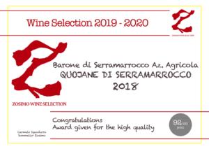 92 punti QUOJANE 2018 ZOSIMO WINE SELECTION