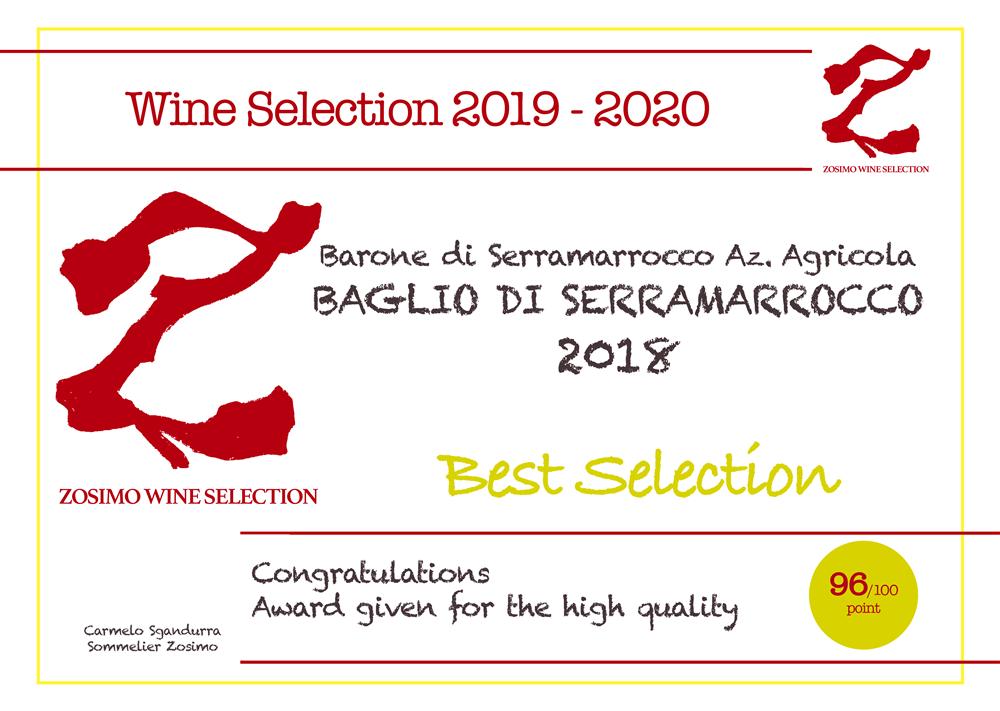 96 punti BAGLIO DI SERRAMARROCCO 2016 ZOSIMO WINE SELECTION