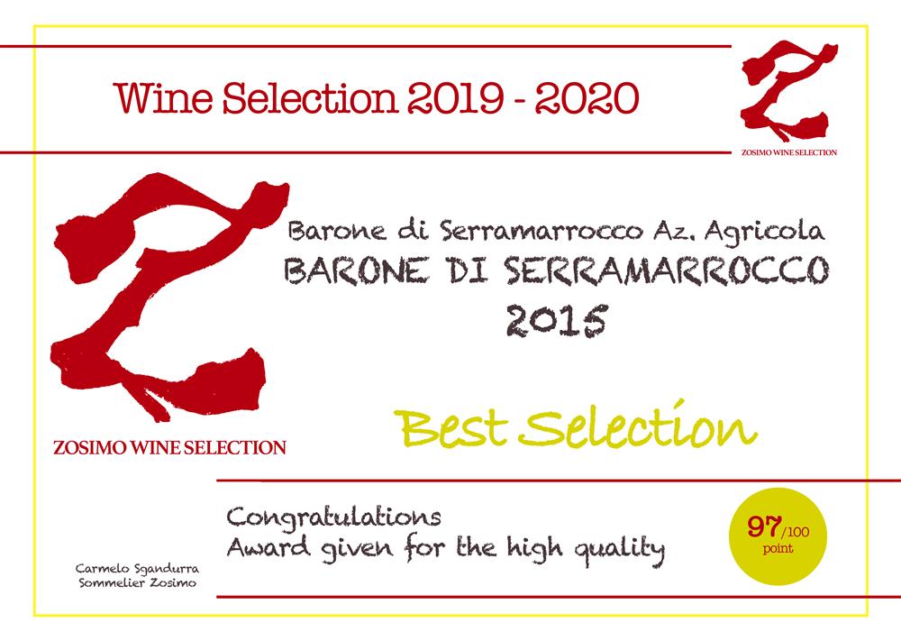 97 punti BARONE DI SERRAMARROCCO 2015 ZOSIMO WINE SELECTION